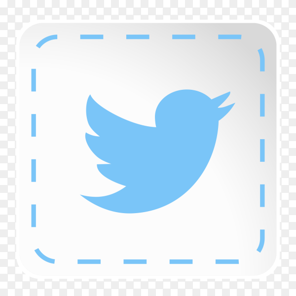 Twitter logo icon social media sticky paper PNG