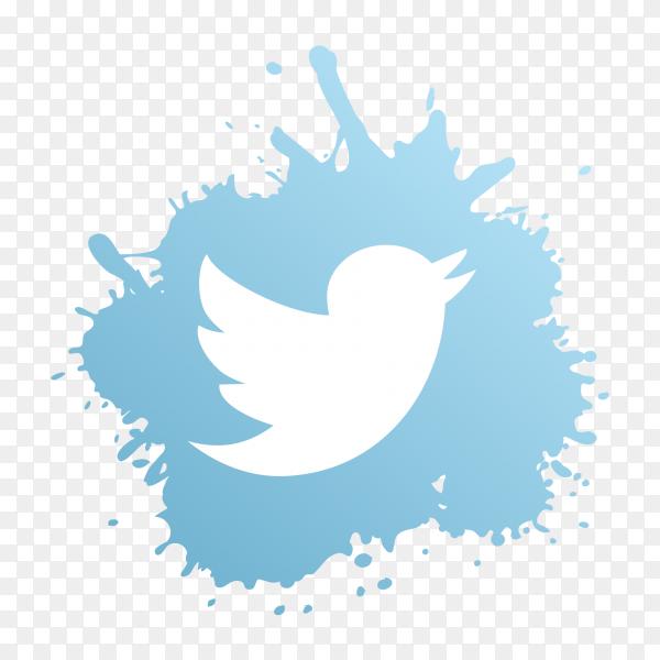 Twitter logo modern paint splash social media PNG