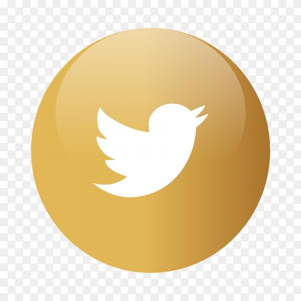Twitter logo popular media in gold circles PNG