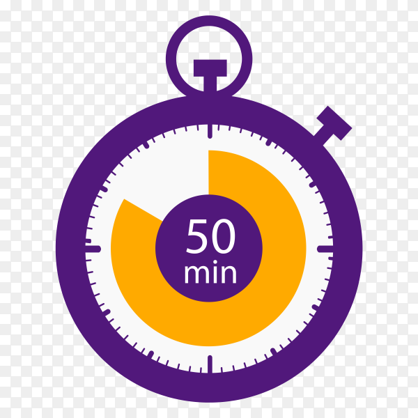 Stopwatch icon 50 minutes vector PNG