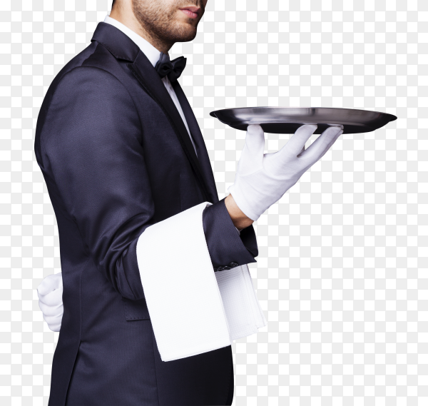 Waiter holding an empty silver tray PNG