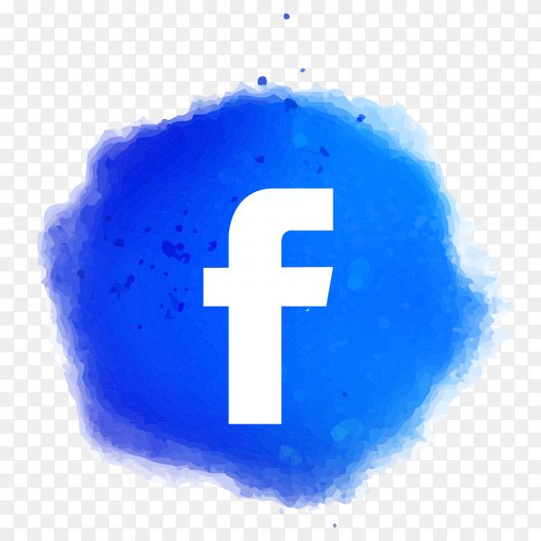 Watercolor facebook logo PNG