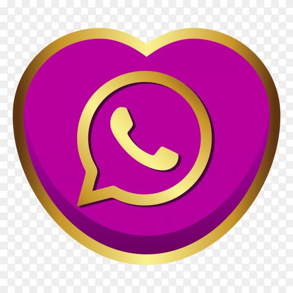 WhatsApp logo golden heart social media PNG