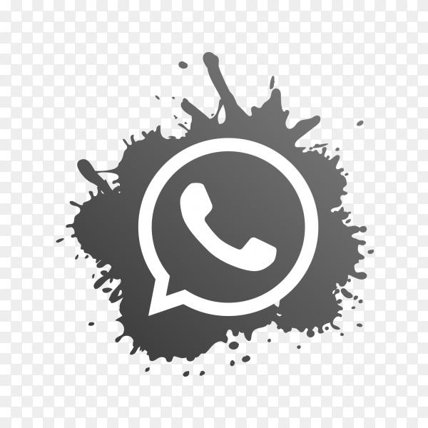 WhatsApp logo gray paint splash PNG