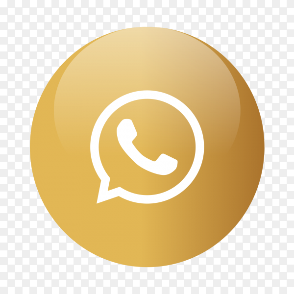 Whats-app logo popular media in gold circle PNG