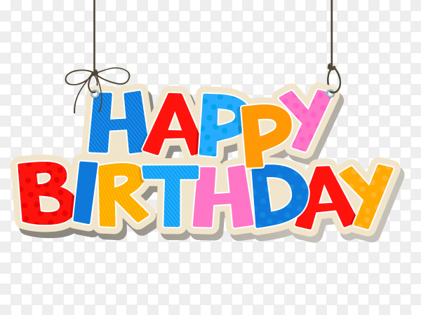 Happy birthday colorful lettering for greeting card PNG