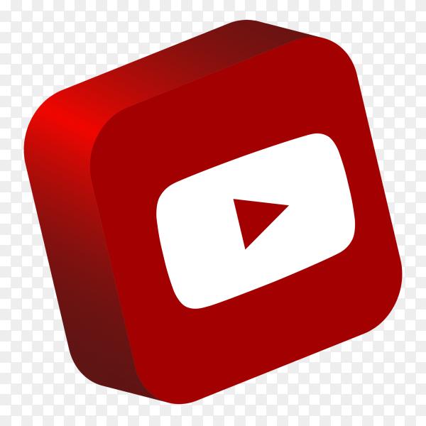 YouTube logo 3d button social media PNG