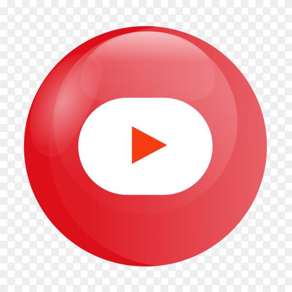 YouTube logo glossy social media PNG