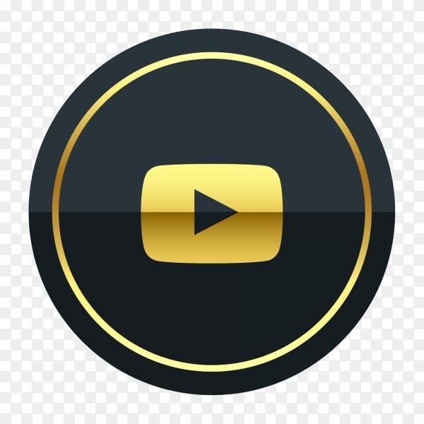 YouTube logo premium of golden social media PNG