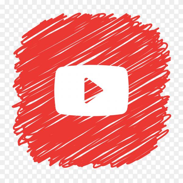 YouTube logo scribble social media icon PNG