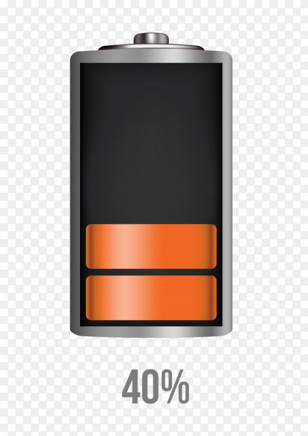 Battery 40% charging load status PNG