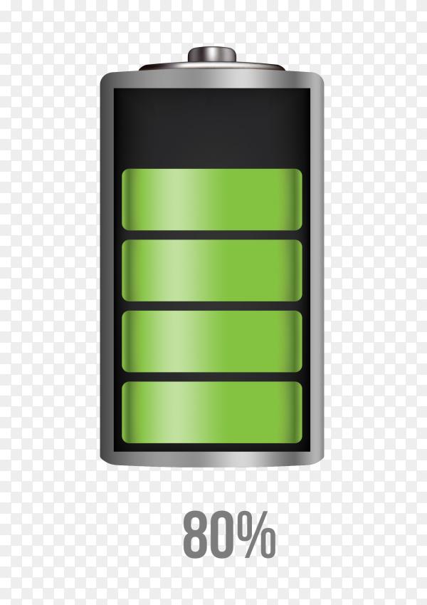 Battery 80% charging load status PNG