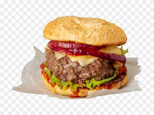 Big burger with beef cutlet cheese onion tomato lettuce toasted rolls PNG