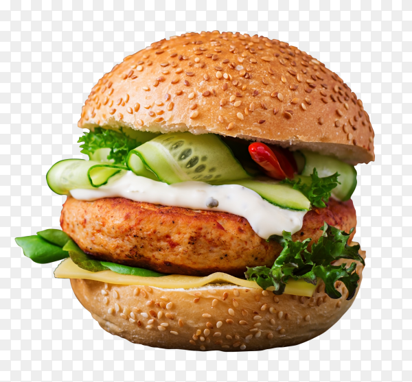 Big sandwich hamburger with juicy chicken burger cheese PNG