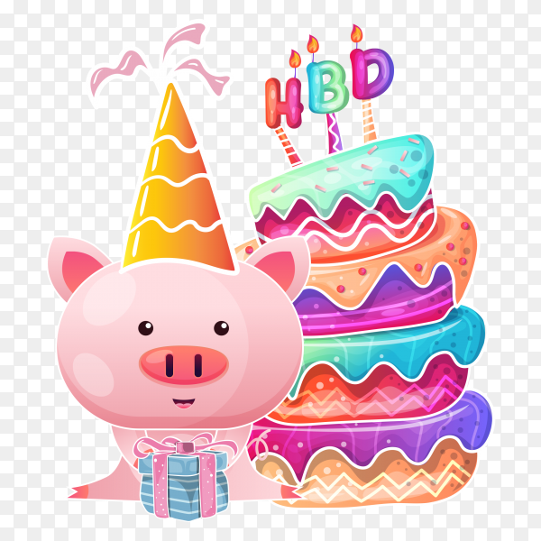 Birthday cake with cute baby pig cartoon PNG