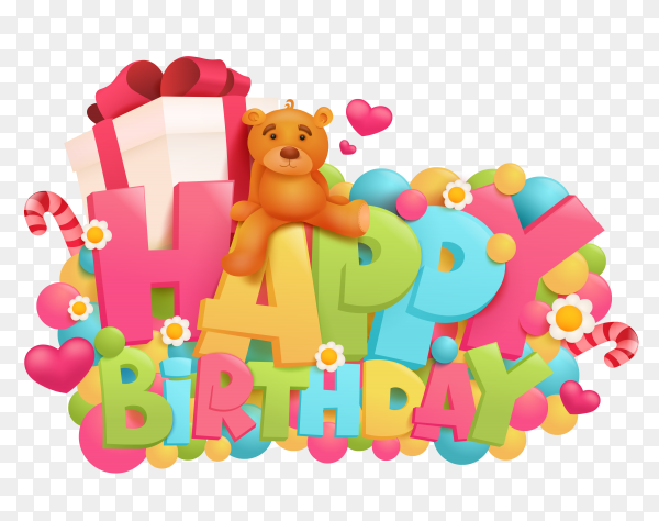 Birthday card with teddy bear and gift box PNG