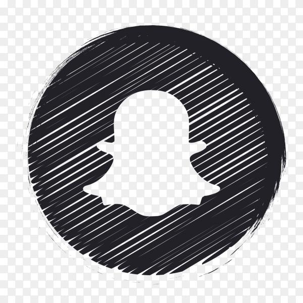 Black  social media logo Snapchat PNG