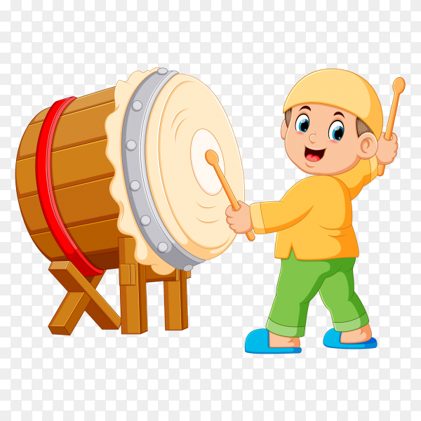 Boy playing bedug cartoon PNG