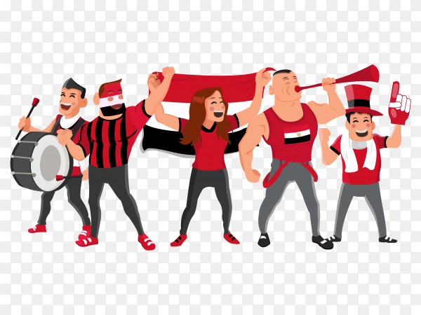 Cheerful egypt football national team supporters PNG