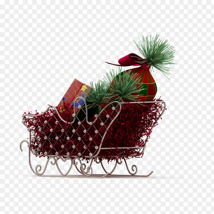 Christmas sleigh 3d render PNG