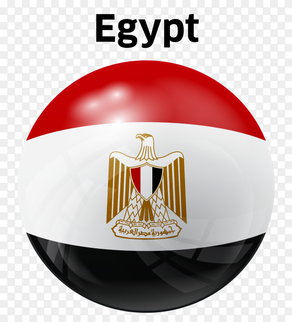 Arab Republic of Egypt flag Circle glossy PNG