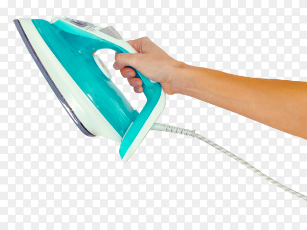 Young woman's hand holding Steam iron PNG