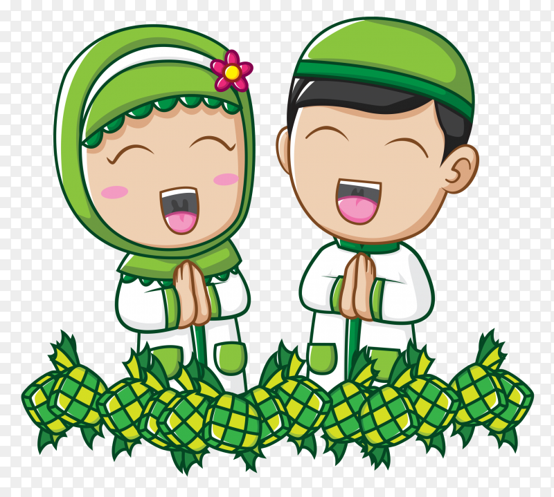 Cute muslem kids Vector PNG
