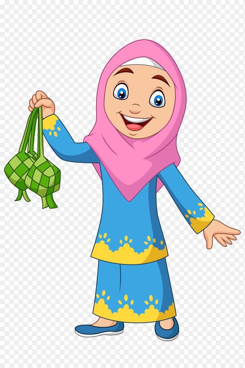 Cute muslim girl holding a ketupat Vector PNG