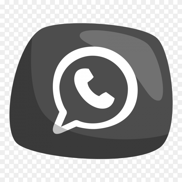 Cute social media black logo WhatsApp PNG