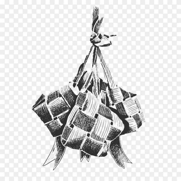 Eid al fitr design with ketupat PNG