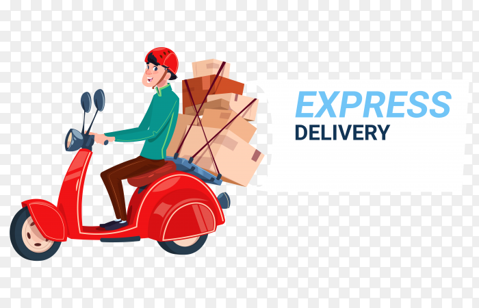 Express delivery service courier boy riding motor bike banner PNG