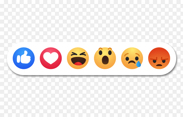 Facebook reactions symbol icons set PNG