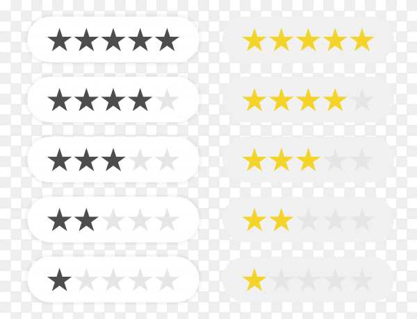 Five stars rating icon – rate status level for app PNG