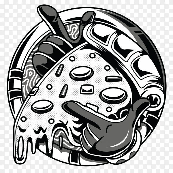 Go pizza black and white illustration Vector PNG
