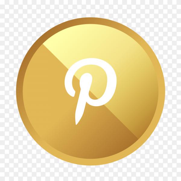 Golden Pinterest logo social media icon PNG