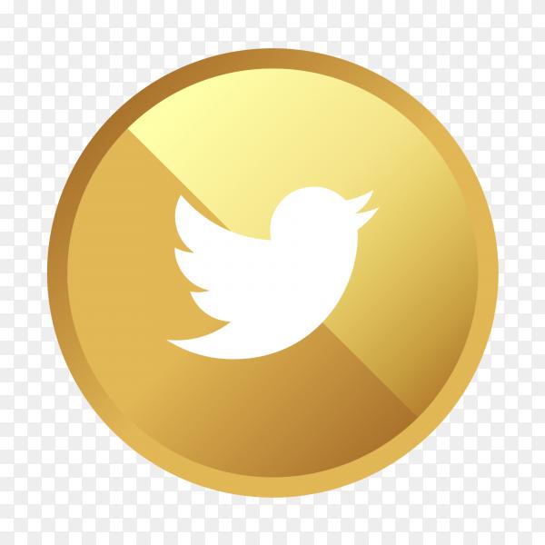 Golden twitter logo social media icon PNG