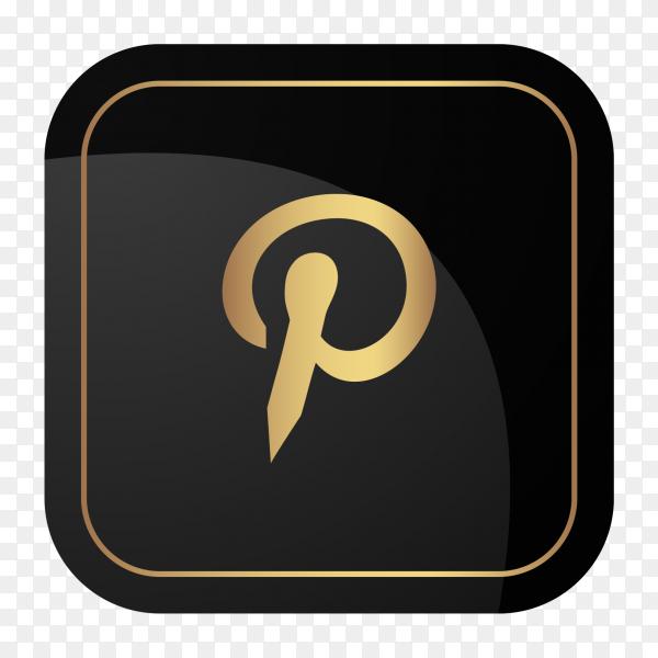 Golden social media logo Pinterest PNG