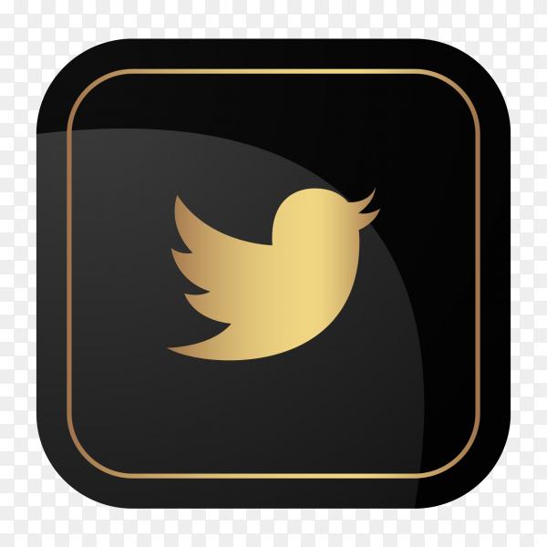 Golden social media logo twitter PNG