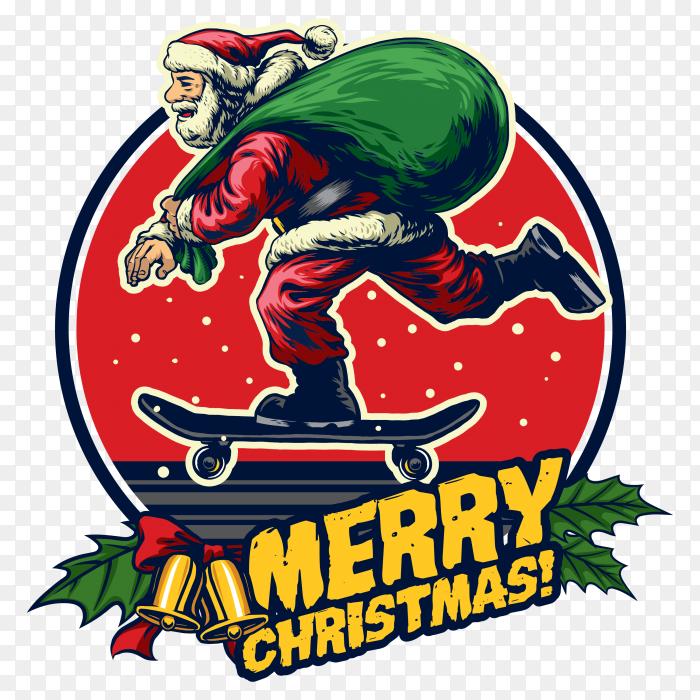 Hand drawing of santa claus riding skateboard PNG