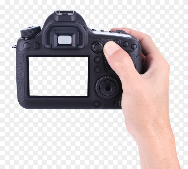 Hands holding the DSLR camera PNG