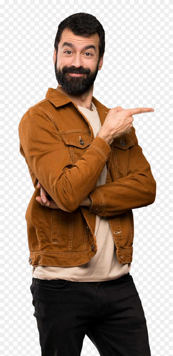 Handsome man pointing finger to the side PNG