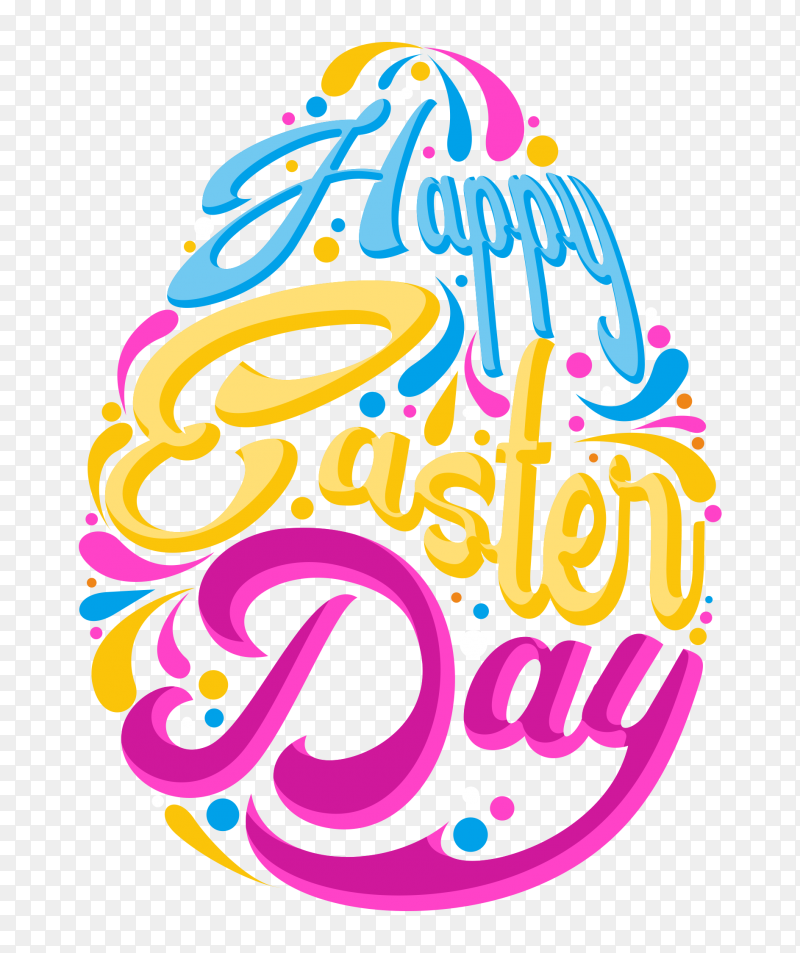 happy easter day colorful word PNG