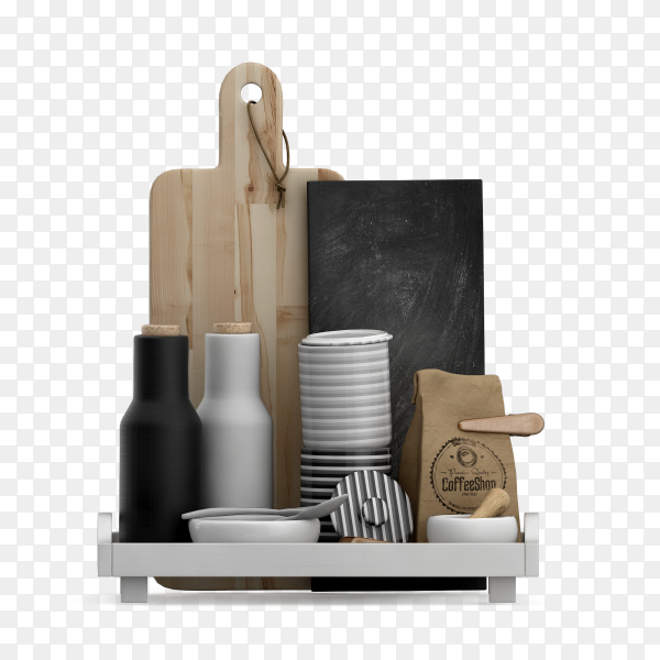 Isometric kitchen accessories 3d render PNG