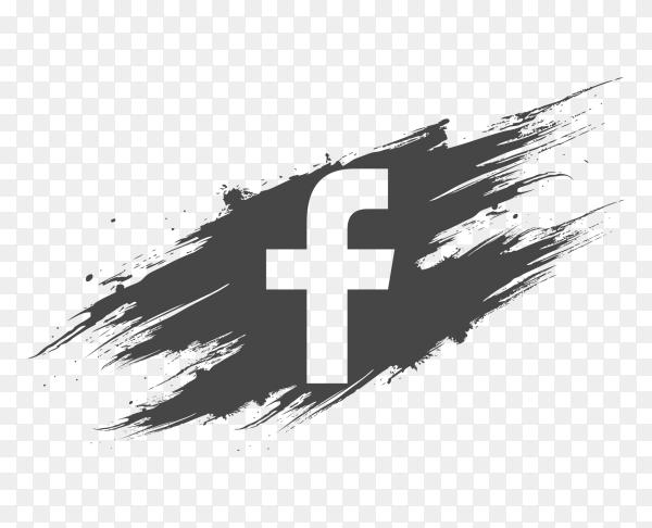 Logo facebook dark grey brush social media PNG
