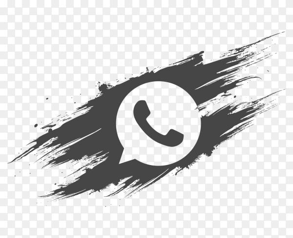 logo WhatsApp dark grey brush social media PNG