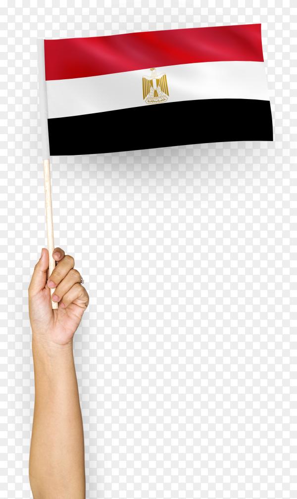 Person waving flag arab republic Egypt PNG