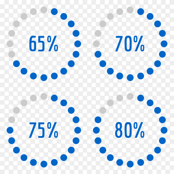 Percentage diagram set 65% – 70% – 75% – 80% Vector PNG