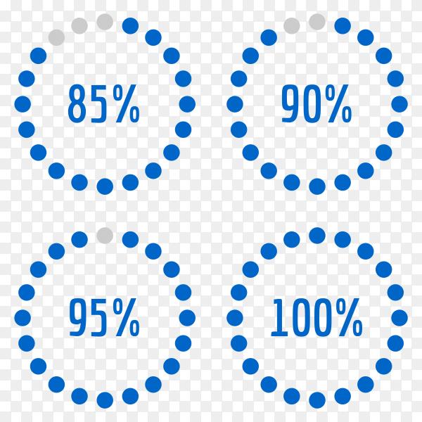 Percentage diagram set 85% – 90% – 95% – 100% Vector PNG