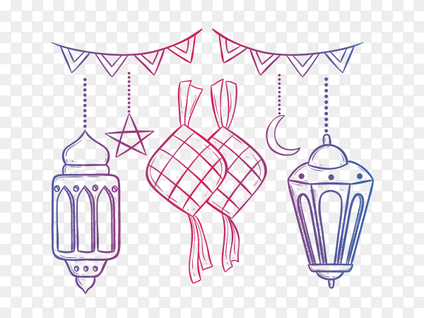 Ramadan kareem with lantern and ketupat using doodle style PNG