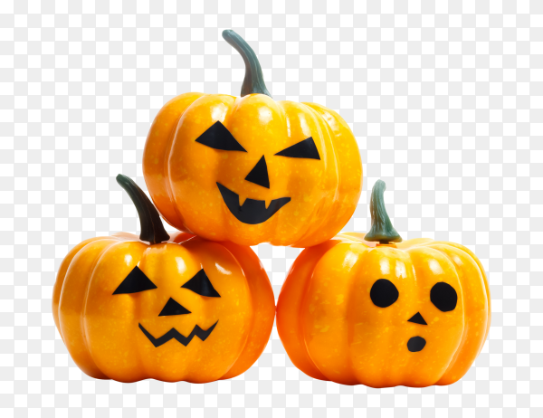 Halloween plastic pumpkins with scary faces PNG